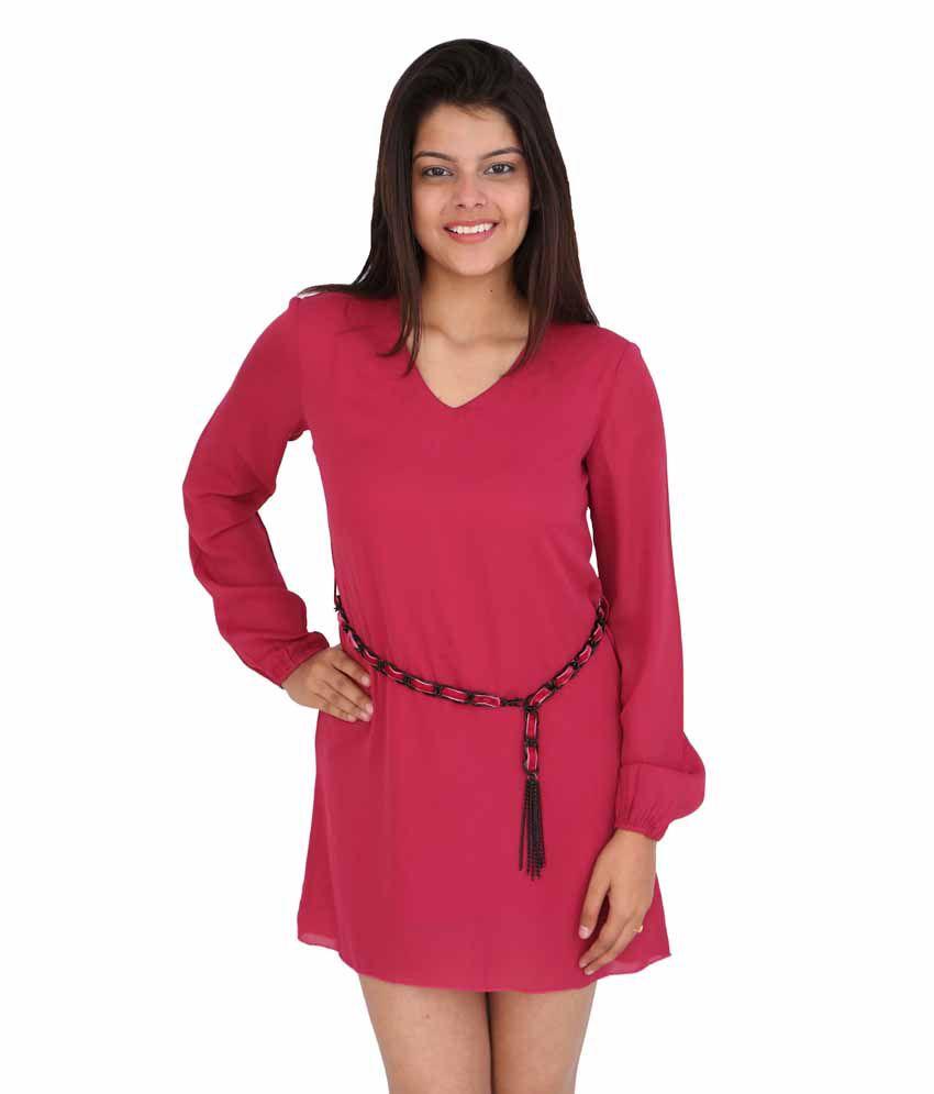Fuchsia By Deemart Maroon Polyester Dresses