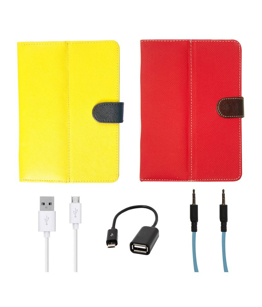 Kanu Flip Cover For Spice Mi-720 with Blue AUX Cable, Micro