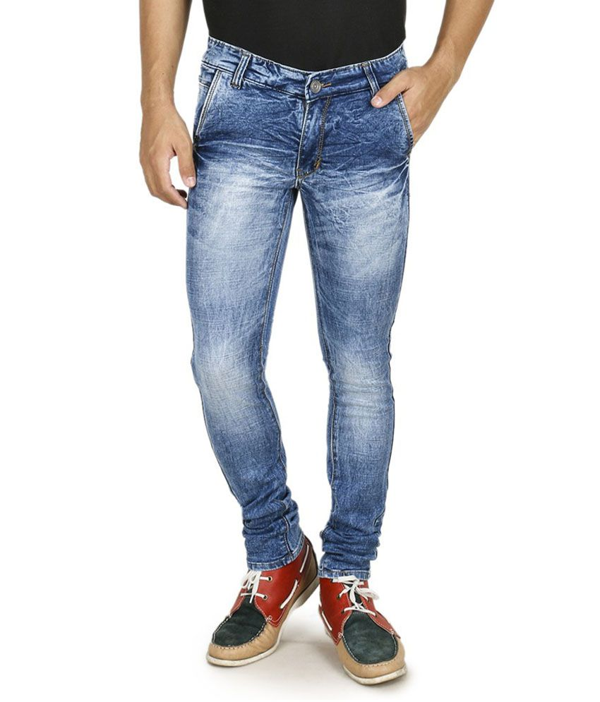 Moshico Blue Cotton Blend Slim Jeans