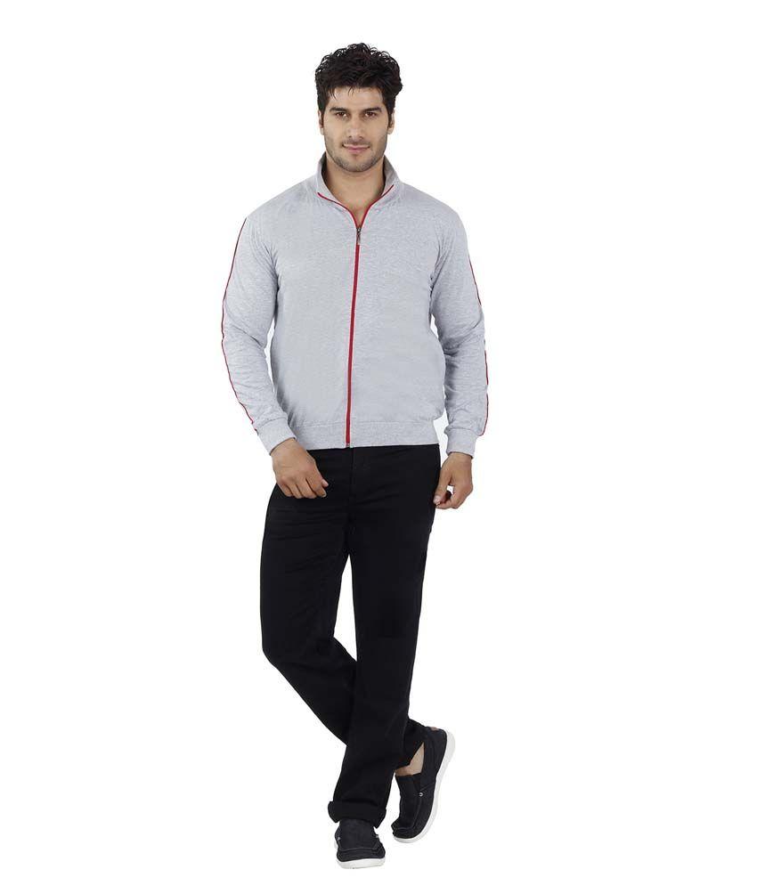 Eetee Gray Cotton Basics Full Sleeve Round Neck T-Shirt