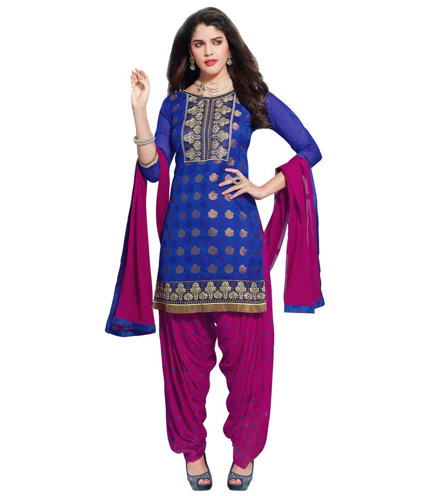 Patiala House Blue Crepe Jacquard Unstitched Dress Material