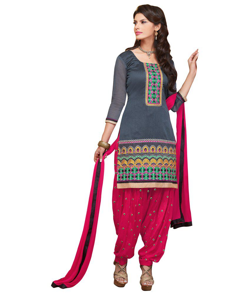 Patiala House Gray Chanderi Unstitched Dress Material