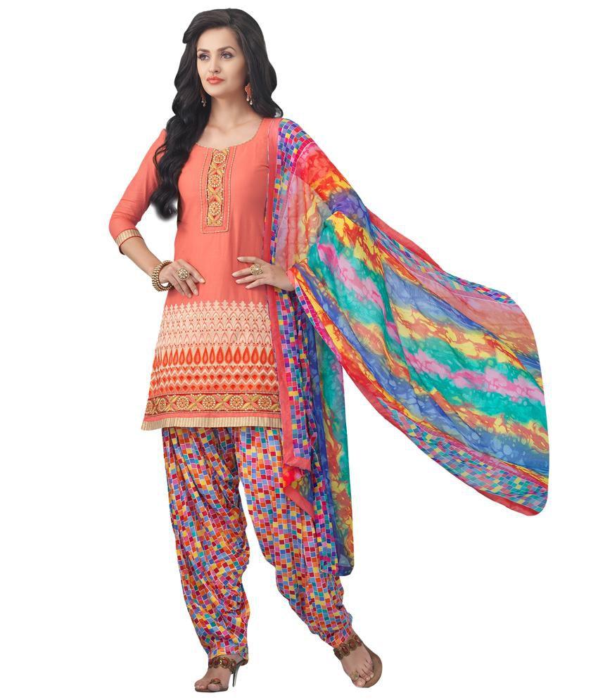 Patiala House Orange Cotton Unstitched Dress Material