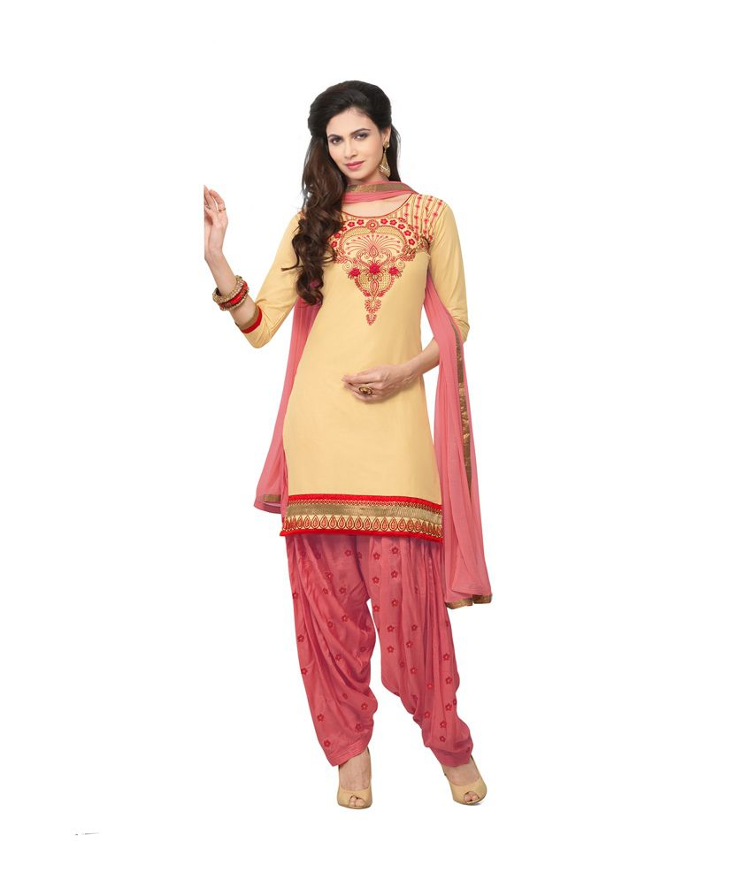Patiala House Yellow Chanderi Unstitched Dress Material
