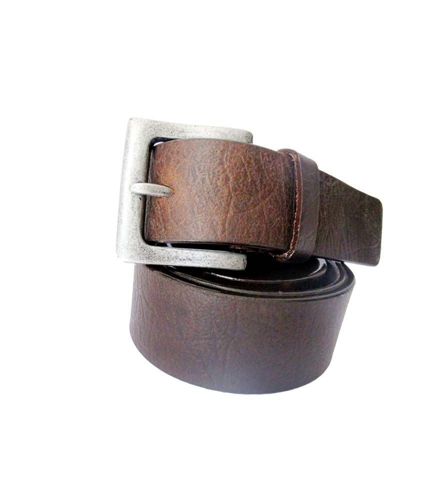 TSI High Class Genuine Leather Belt with Pin Buckle - Brown
