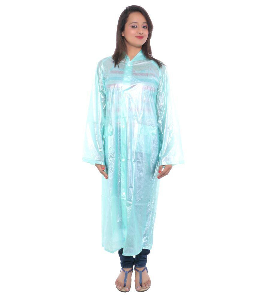Cizara Blue Polyester Full Long Raincoat For Women