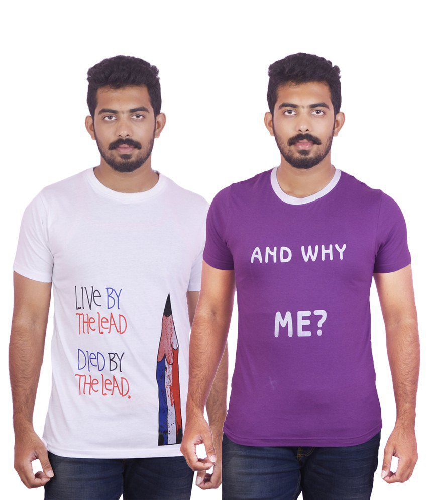 DK Clues Combo Of 2 White & Purple T Shirts For Men