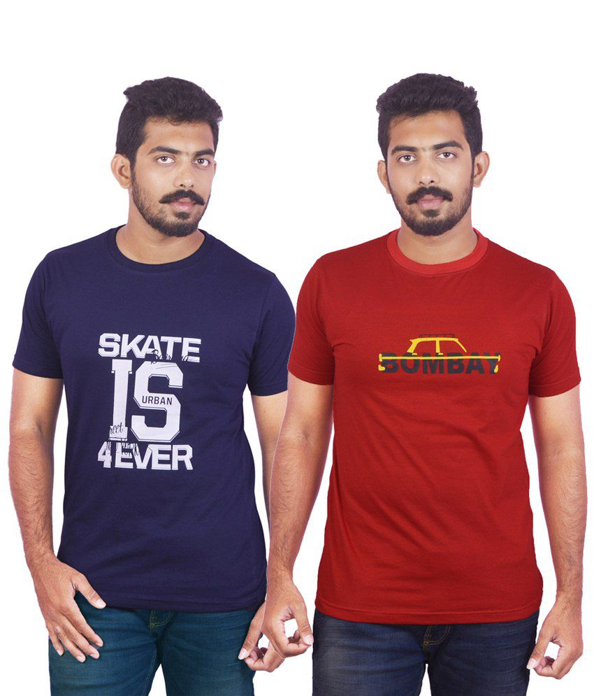 DK Clues Enhanced Combo Of 2 Blue & Red Half Sleeve Graphic T Shirts For Men