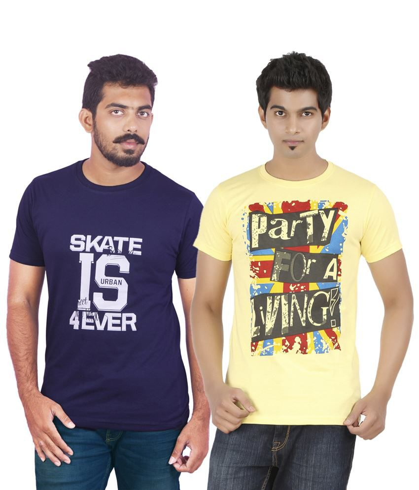 DK Clues Impressive Combo Of 2 Blue & Yellow Half Sleeve Graphic T Shirts For Men
