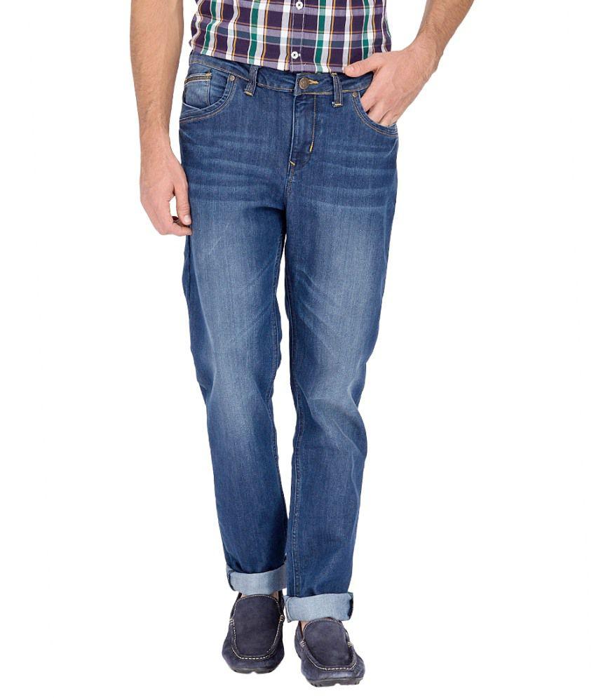 River Nation Blue Cotton Slim Fit Jeans