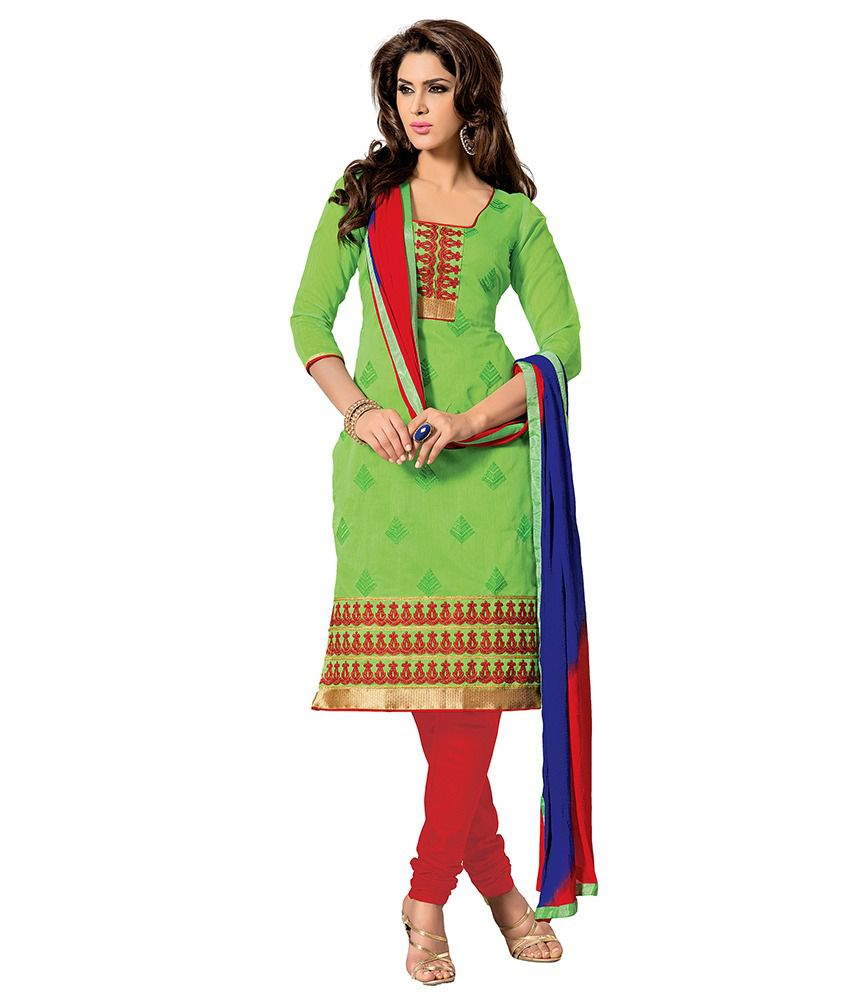 Saee Green Chanderi Unstitched Dress Material