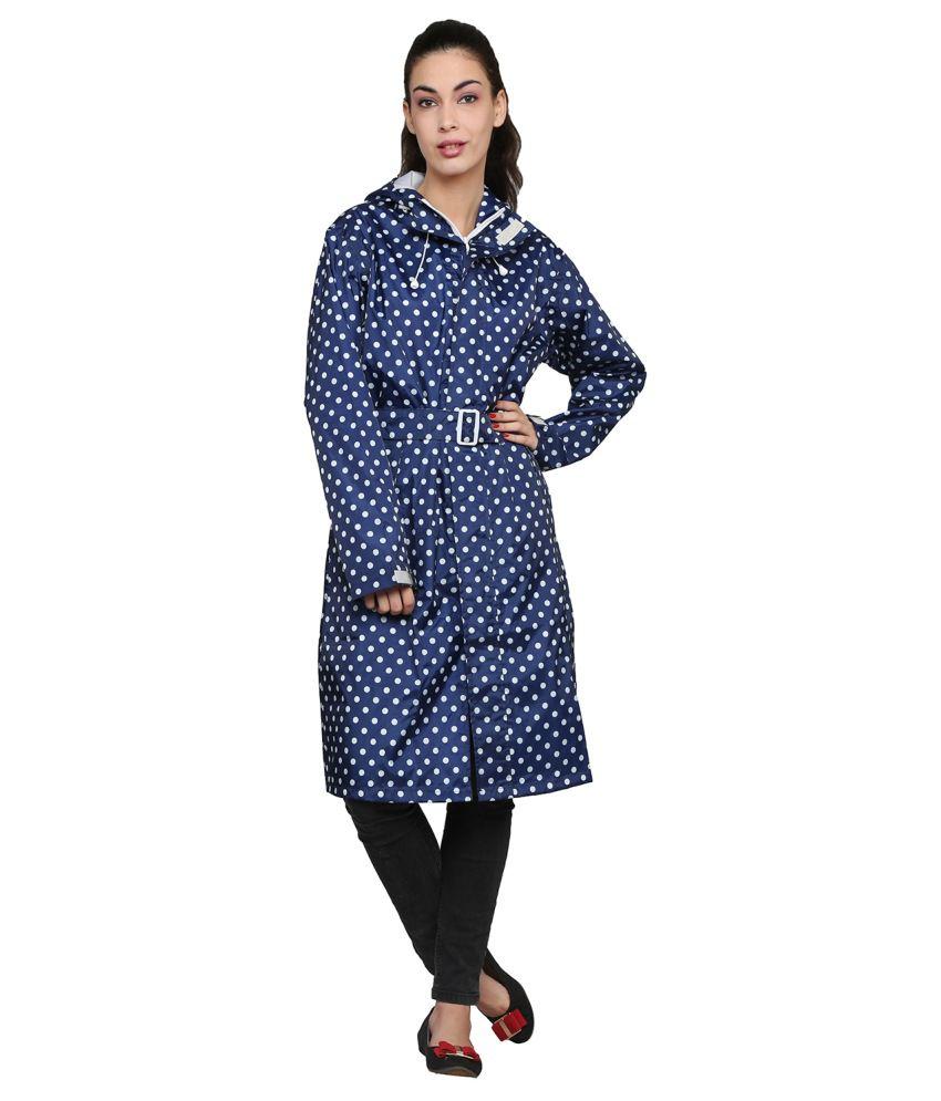 Zeel Navy Blue Printed Knee Length Rain Coat