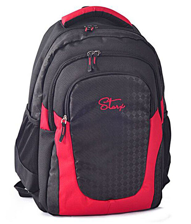 Starx Black Water-Repellent Fabric Backpack