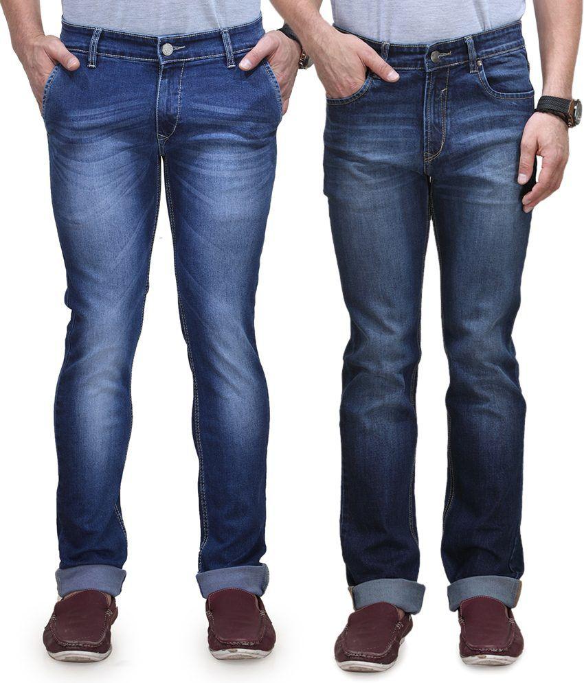 Vintage Blue Jeanswear Blue Cotton Regular Stylish Jeans - Pack Of 2