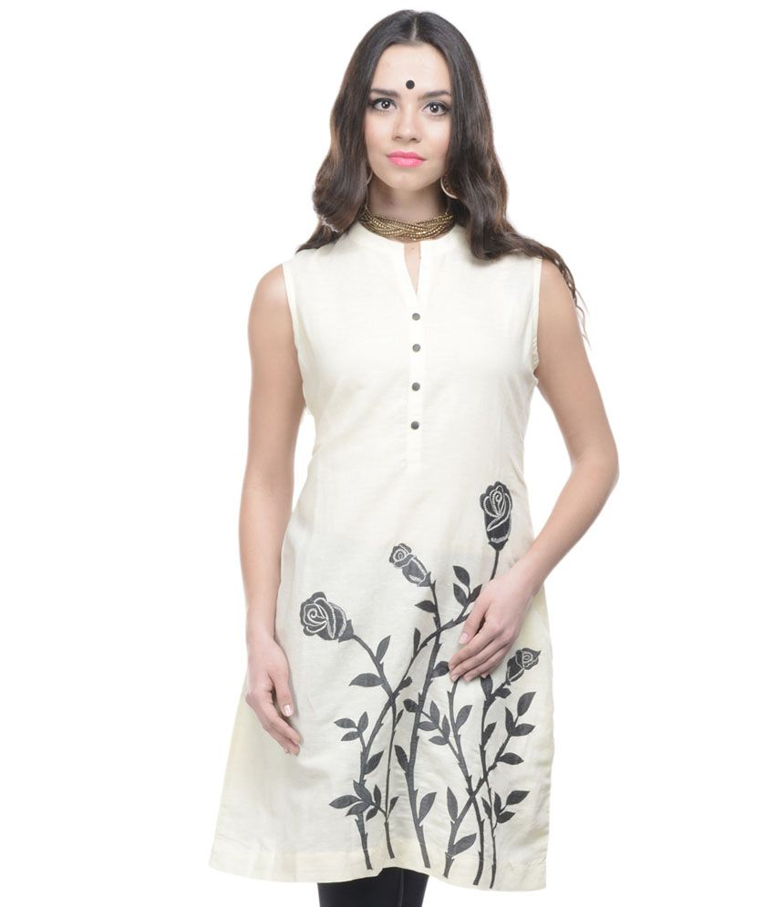 670ab0dc5d Adakari White Casual Roll-up Sleeve Embroidered Kurti - Buy Adakari White  Casual Roll-up Sleeve Embroidered Kurti Online at Best Prices in India on  Snapdeal