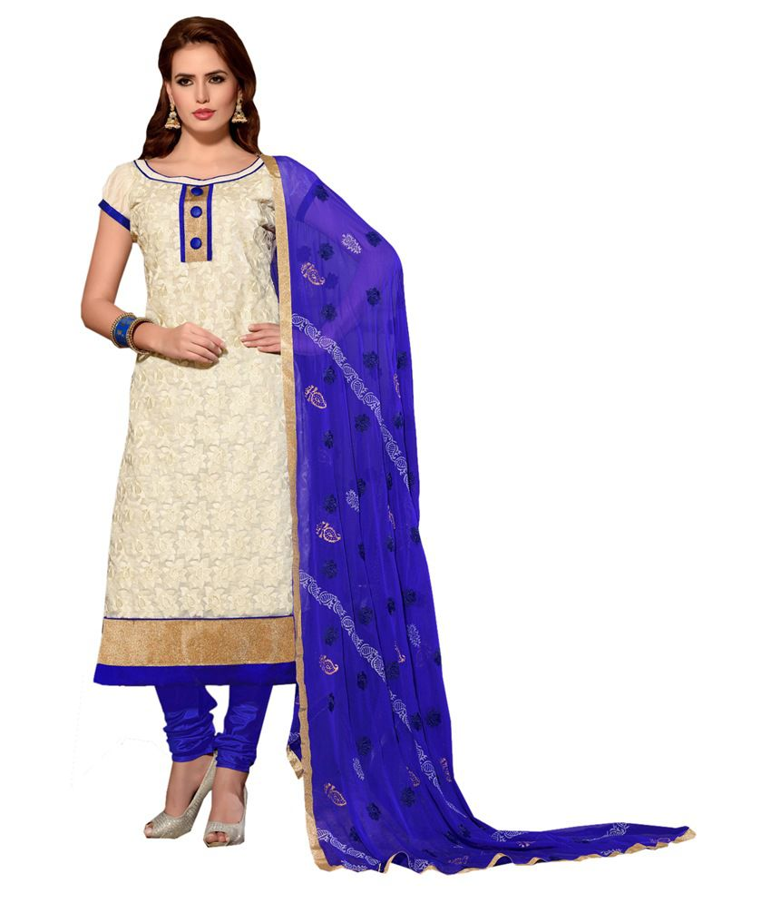 Dilwaa White Chanderi Unstitched Dress Material