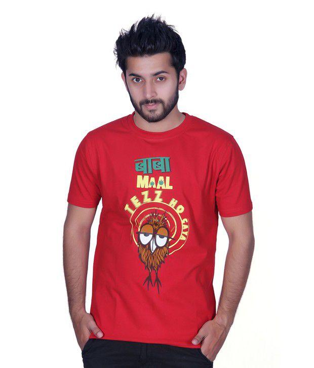 Ektarfaa Baba Maal Tezz Ho Gaya Light Red Cotton Printed T Shirt
