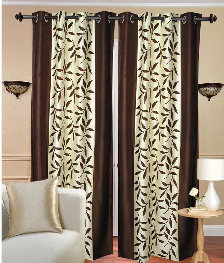 Handloom Hut Set of 2 Door Eyelet Curtains Contemporary Brown