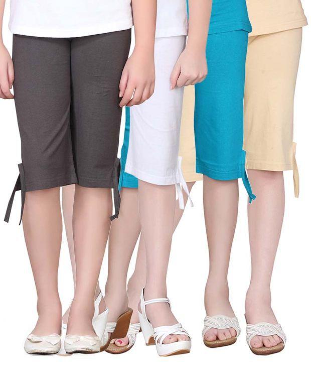 Sinimini Multicolour Cotton Capri For Girls - Set Of 4