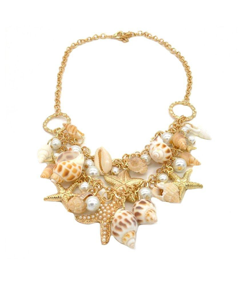 Stylovy Golden Alloy Choker Coloured Bead Necklace