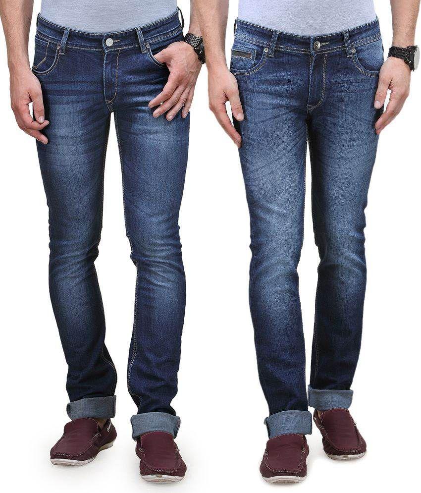 Vintage Blue Jeanswear Blue Cotton Jeans Pack Of 2