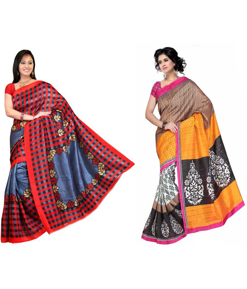 Ganpati Textile Beautiful Combo Of Two Bhagalpuri Silk Saree With Blouse Piece