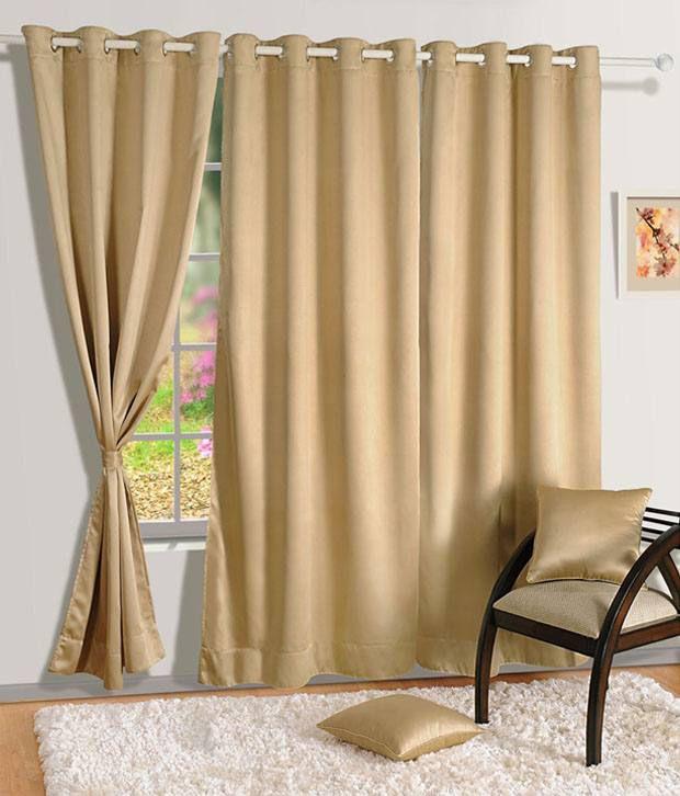HOMEC Set of 4 Door Blackout Eyelet Curtains Solid Black&Beige