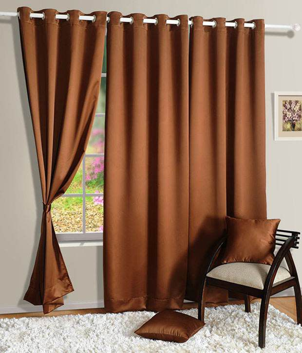HOMEC Set of 4 Long Door Blackout Eyelet Curtains Solid Black&Brown