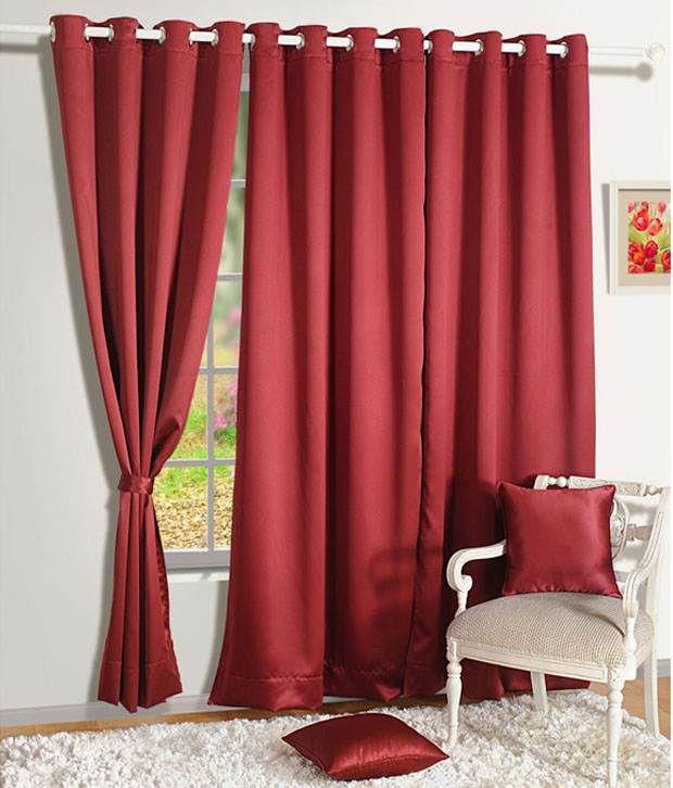 HOMEC Set of 2 Window Blackout Eyelet Curtains Solid Black&Red