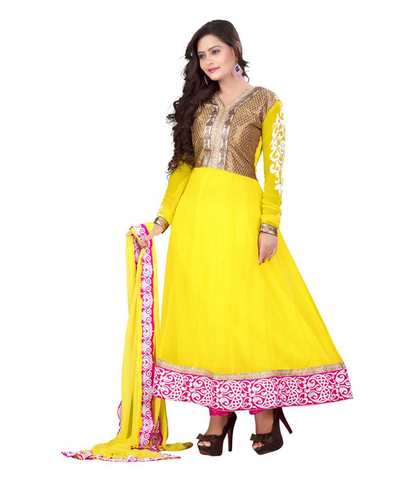 Stylish Girls Yellow Faux Georgette Dress Material
