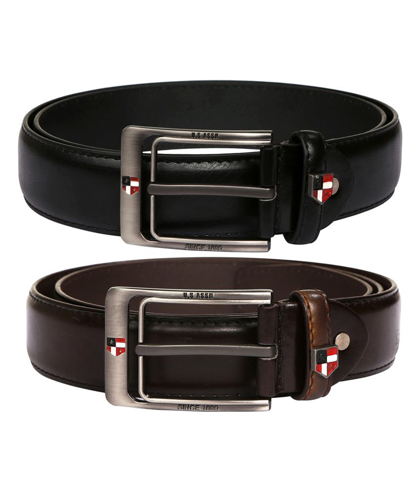 M Leathers Black & Dark Brown Stylish Leather Belts For Men - Pack of 2