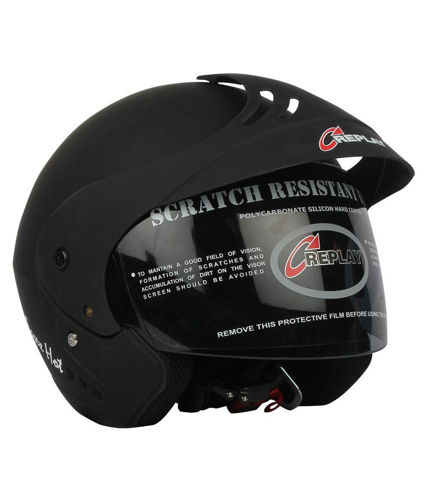 2e99249c ... Replay Essex Hot Plain Open Face Helmet with Smoke Visor (Black)