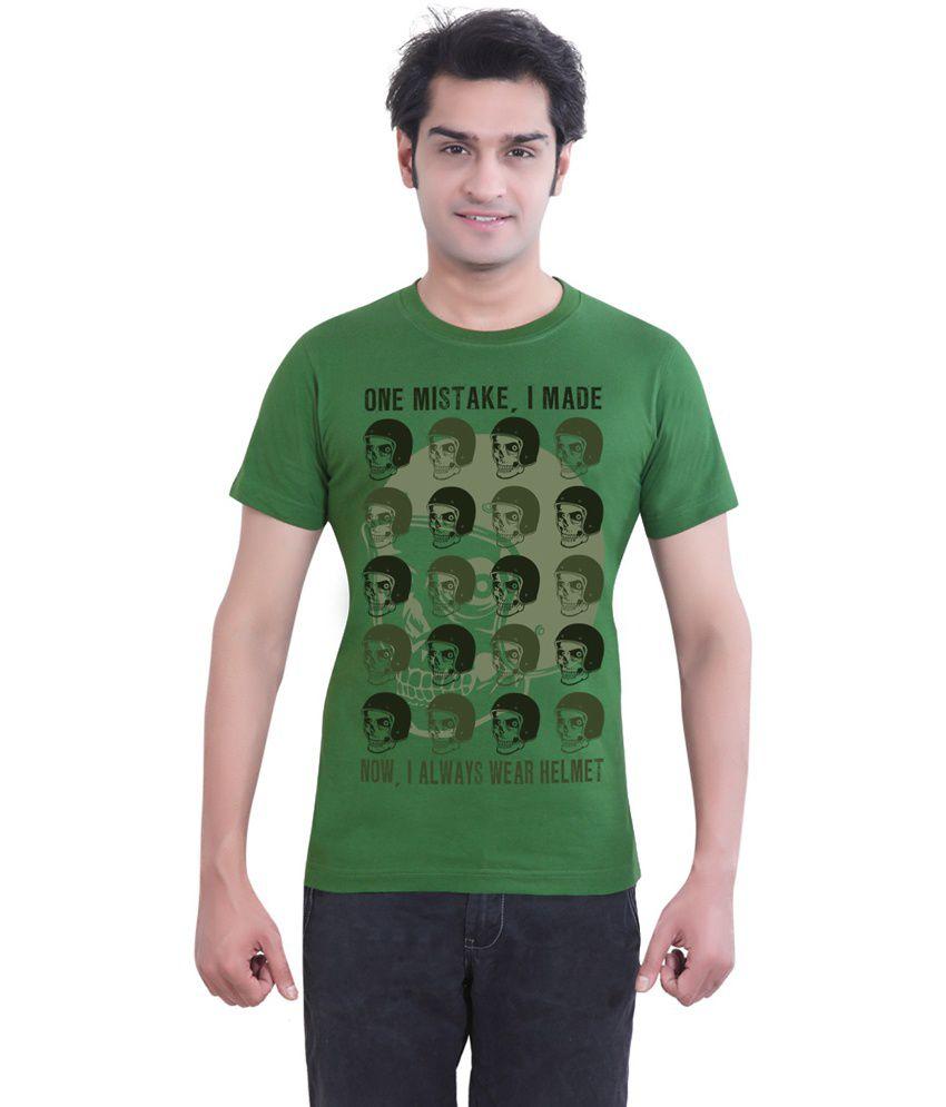 Tantra Green Cotton Helmet Round Neck T-shirt
