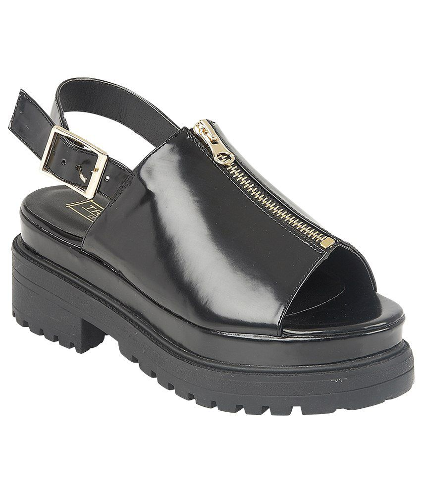 Truffle Collection Black Low Heel Sandals