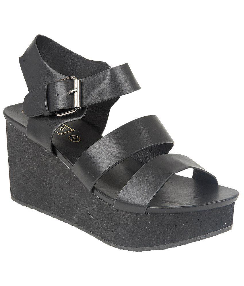 Truffle Collection Black Medium Heel Sandals
