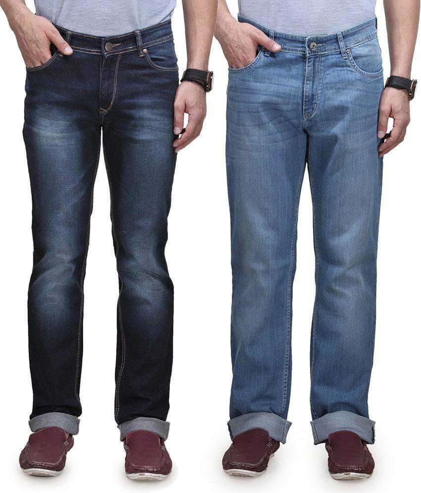 Vintage Blue Jeanswear Blue Cotton Regular Basics Jeans Pack Of 2 Denim