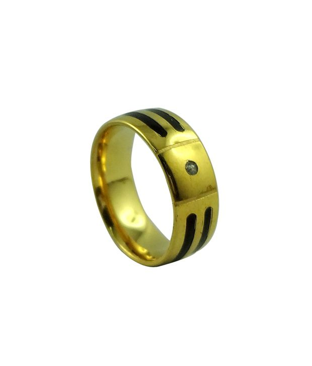 Wise Pebbles Golden CZ Stainless Steel Ring For Men