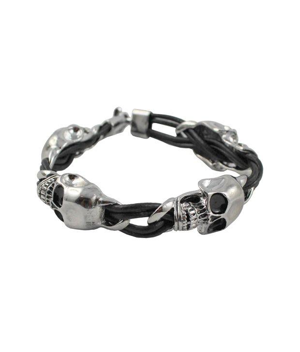 Wise Pebbles Silver Skull Bracelet Knitted Bracelet For Men