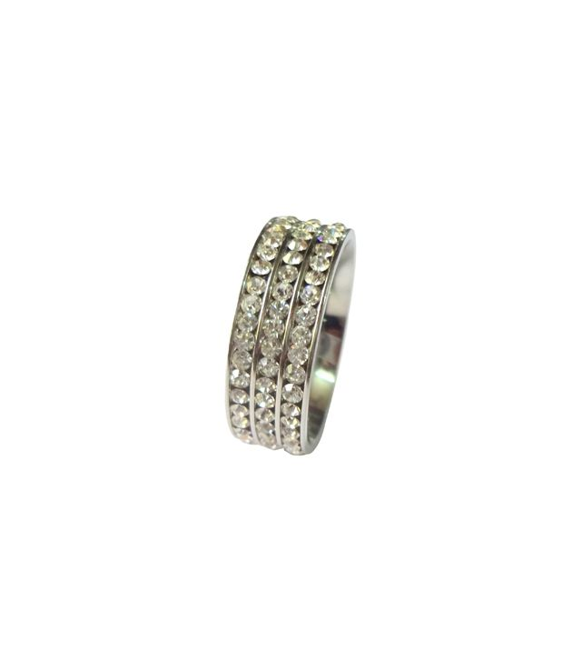 Wise Pebbles Three layer CZ Silver Stainless Steel Ring For Men