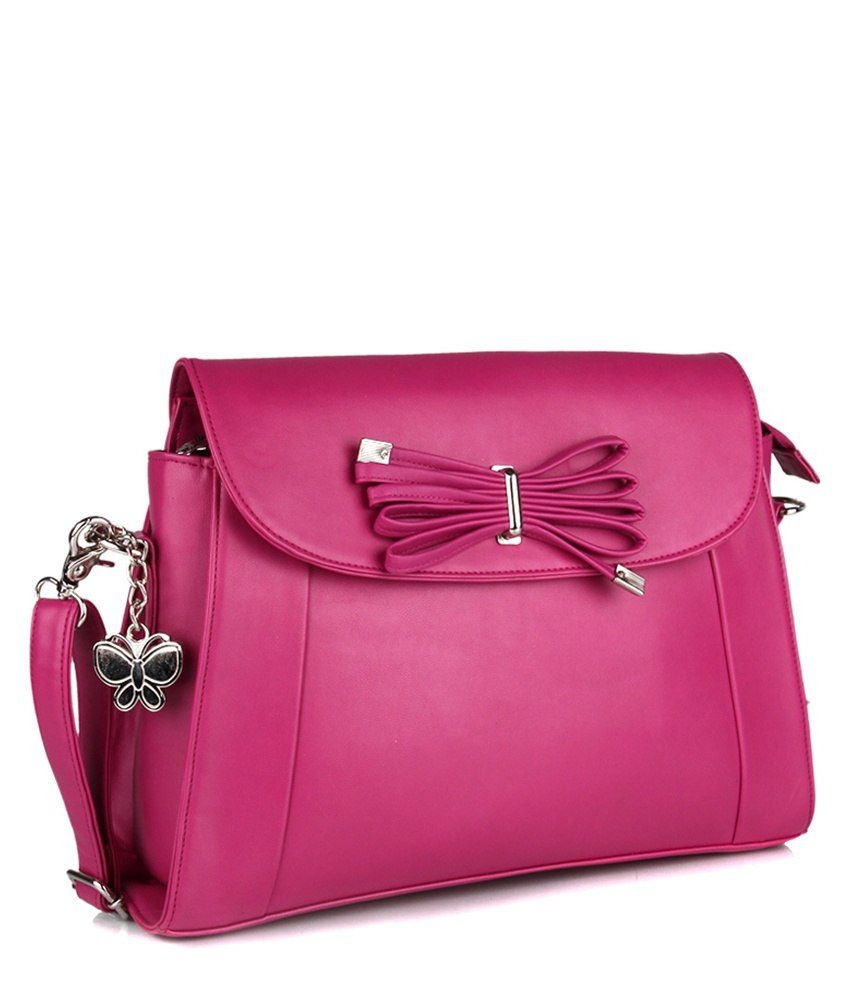 Butterflies Pink Faux Leather Sling Bag - Buy Butterflies Pink ...