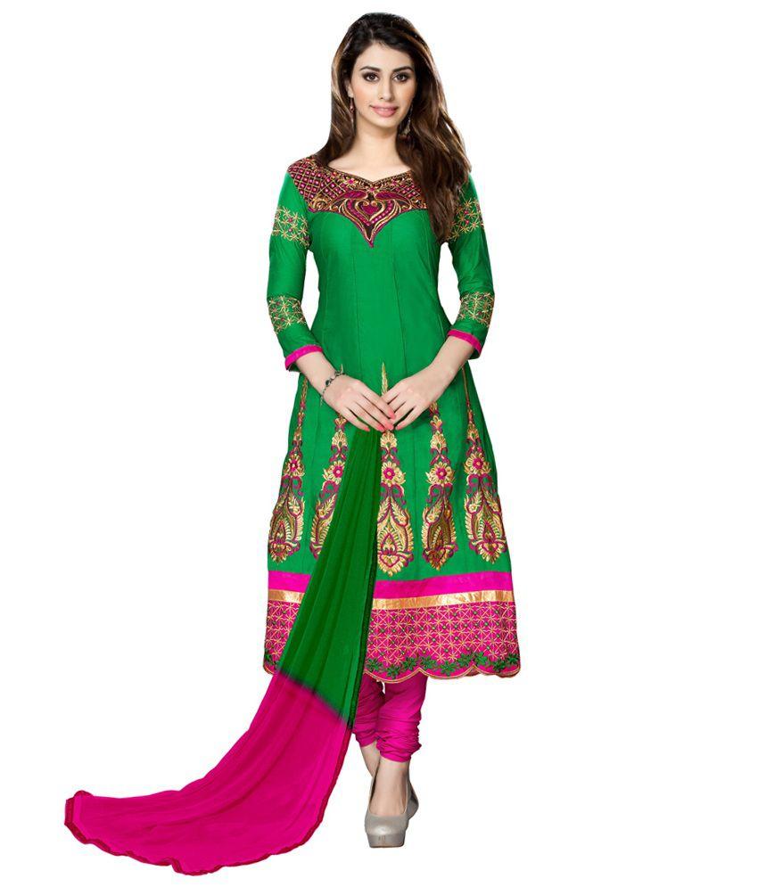 Dks Designer Green Cotton Dress Material
