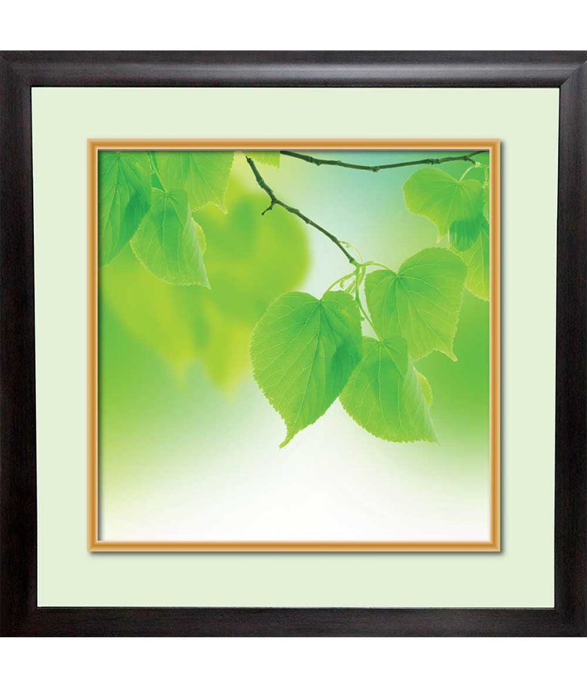 Mataye Graphics Green Leaves Designer Painting With Frame