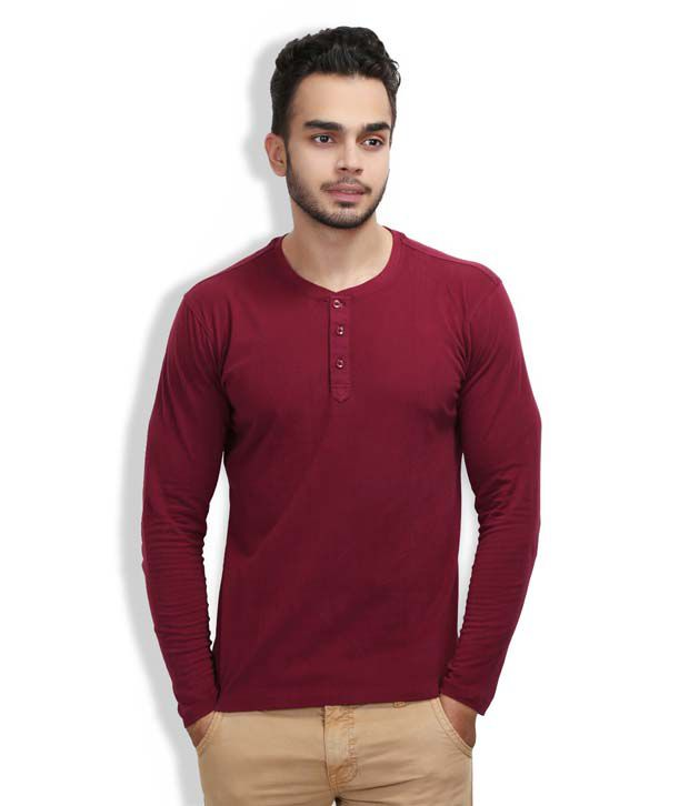 Wear Your Mind Long Sleeve Maroon Henley Neck