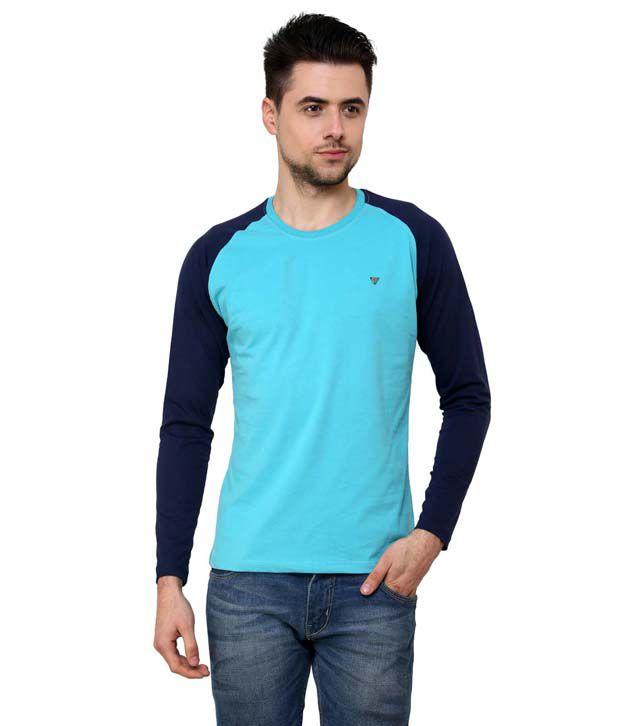 Wear Your Mind Long Sleeve Turq/Navy Mens Tshirt