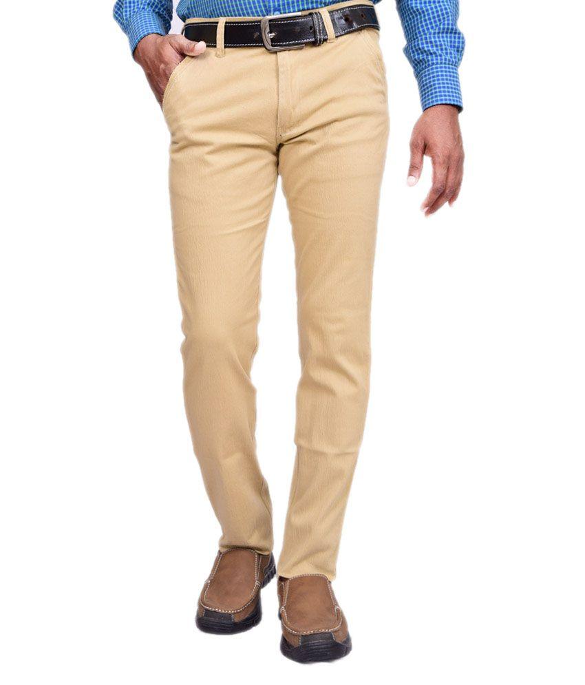 American Noti Khaki Cotton Lycra Casuals Wear Trouser