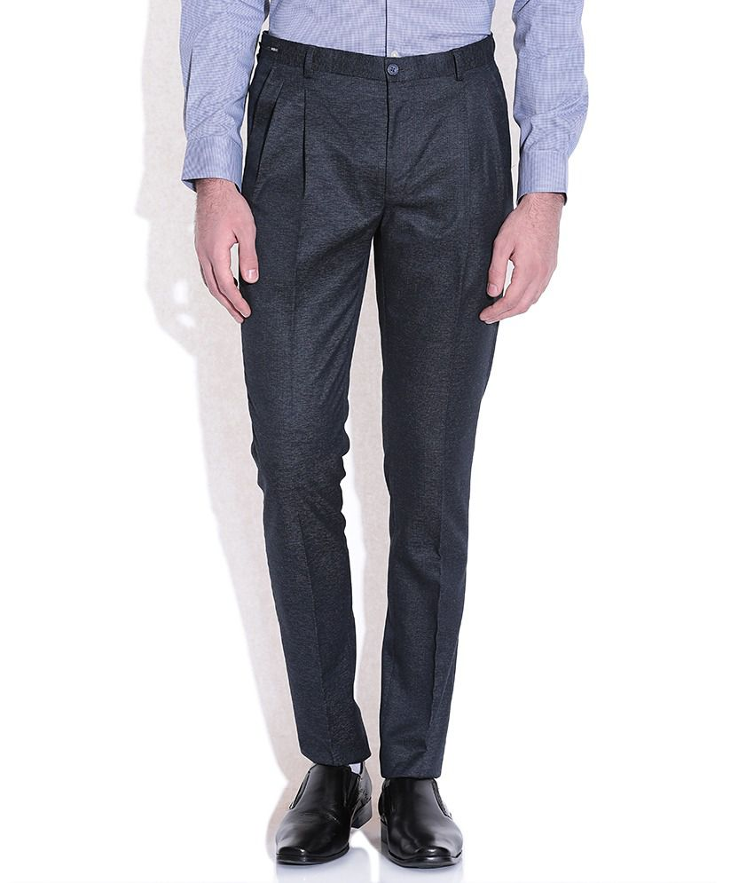 Arrow Blue Solid Flat Front Trousers