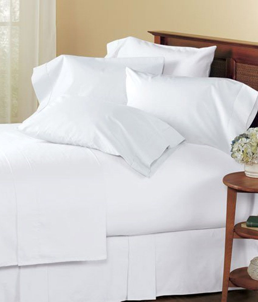 plain white bed sheets