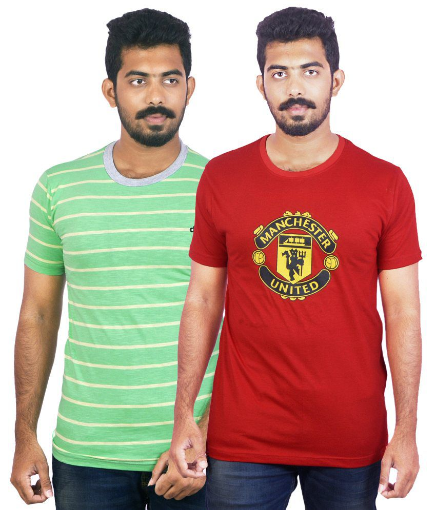 Dkclues Red & Green Round Neck Cotton T-Shirt Pack of 2
