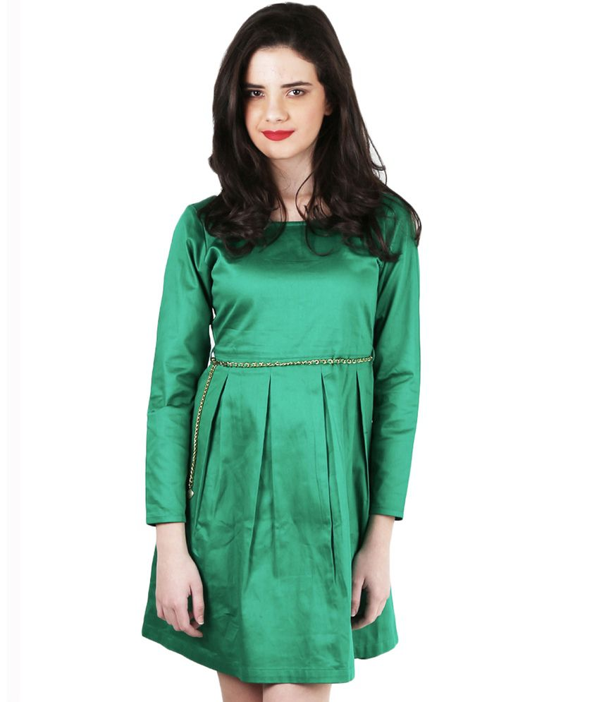 Magnetic Designs Green Cotton Dresses
