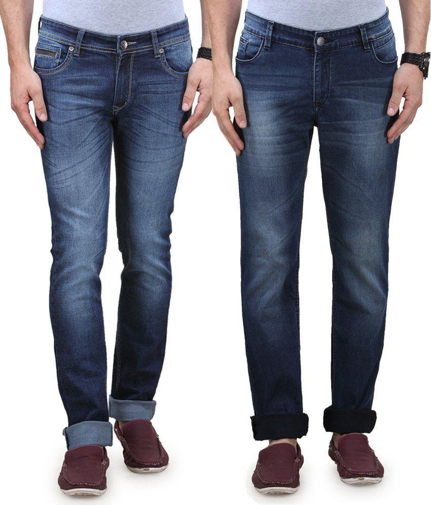 Vintage Blue Cotton Denim Jeans - Combo Of 2